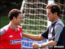 Wayne Bridge and Fabio Capello