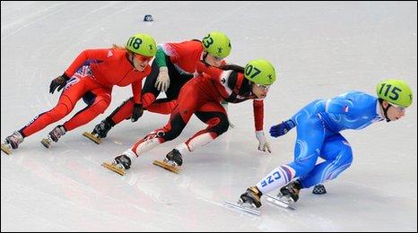 "Great Britain""s Elise Christie in 1000m heats"