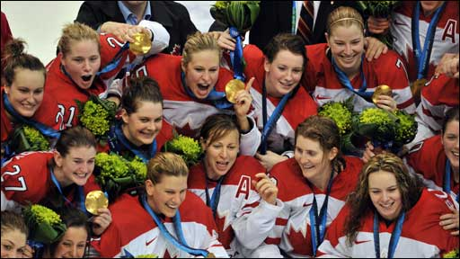 Canada celebrate winning ice hockey gold