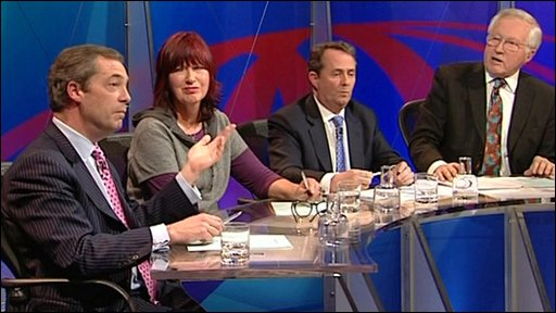 Nigel Farage, Janet Street Porter, Liam Fox and David Dimbleby