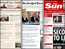 Websites for Financial Times, The New York Times and The Sun