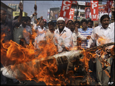 Protests against the budget in Hyderabad on 26 Feb 2010