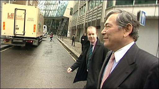 The BBC's Joe Lynam and Lloyds boss Eric Daniels