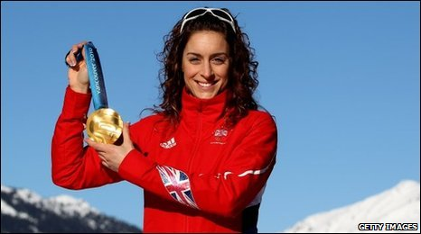 Amy Williams with her gold medal
