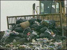 Waste at a landfill site