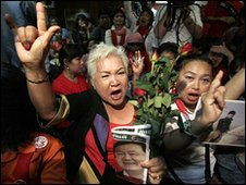 Supporters of Thaksin Shinawatra react as the verdict is delivered