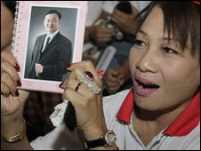 Supporter of Thaksin Shinawatra in Bangkok, Thailand (26 Feb 2010)