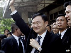 Thaksin Shinawatra in Bangkok, Thailand (19 Feb 2008)