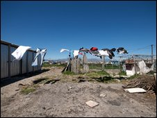 washing-line in shanty town
