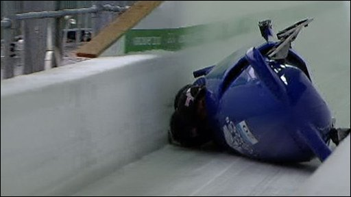 GB men's four-man bobsleigh on side