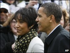 Desiree Rogers with US President Barack Obama - 13 April 2009 file photo