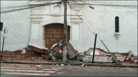 Quake damage in Santa Cruz, Chile, 27 Feb