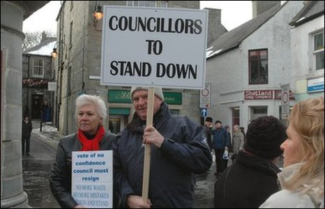 Protesters called on the council to stand down and face re-election