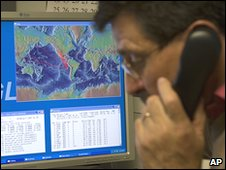 The Pacific Tsunami Warning Center in Hawaii gathers information