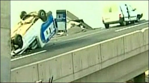 Cars turned upside down on the motorway