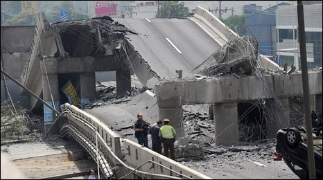 Collpased bridge in Santiago after Chilean earthquake