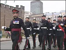 The 2nd Battalion The Royal Welsh approach Cardiff Castle