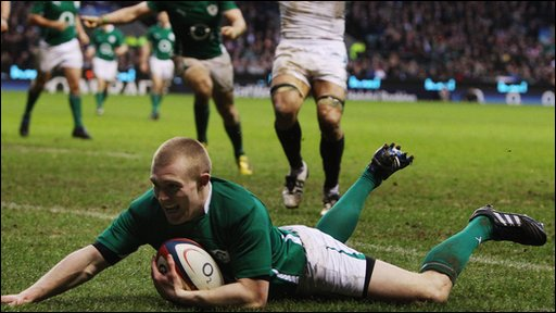 Earls scoring against England