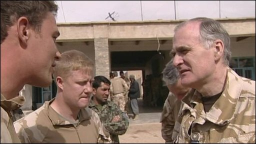 Armed forces chief Sir Jock Stirrup, talks to British troops in Afghanistan