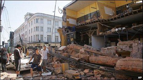 Buildings wrecked in Concepcion