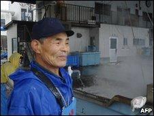 A fisherman at Shizugawa in Miyagi prefecture north-east of Tokyo, Japan