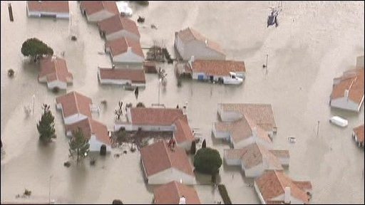 Aerials of flooding