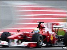 Felipe Massa's Ferrari at the final Formula pre-season test