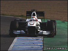Kamui Kobayashi in the Sauber