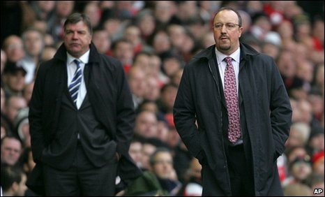 Blackburn manager Sam Allardyce (left) and Liverpool boss Rafa Benitez