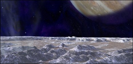Artist's impression of Europa surface (Nasa)