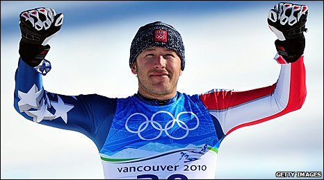 Bode Miller celebrates winning gold