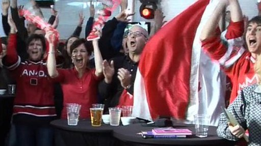 Canadians celebrate men's ice hockey final win