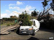 Van hit by  tree in La Rochelle, western France 28.02.10