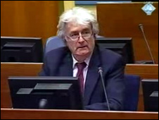 Radovan Karadzic at The Hague on 28 Feb 2010