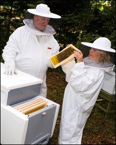 Paul Peacock with trainee beekeeper Rowena Pyott