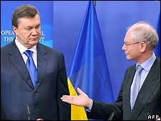 Ukraine's President Viktor Yanukovych and European Council President Herman Van Rompuy, 1 Mar 10