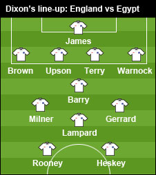 Dixon's line-up for England v Egypt