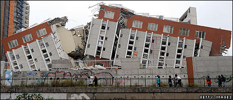 A building in Concepcion, Chile destroyed by an earthquake