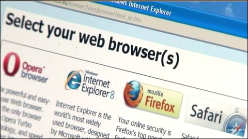 Browsers offered by Microsoft's new Windows Update