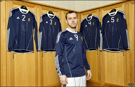 James McFadden models Scotland's new strip