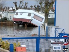 Flooded mobile home park in L'Aiguillon-sur-Mer, western France, 1 March 2010