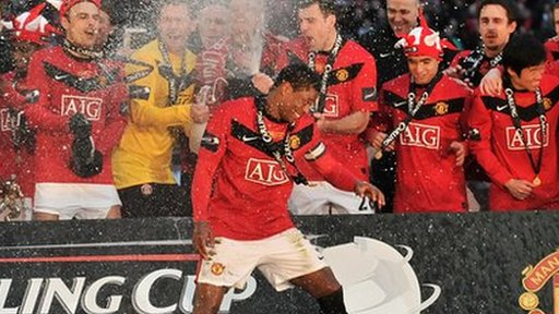 Manchester United win the Carling Cup final