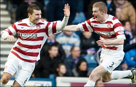James McArthur and Brian Easton celebrate
