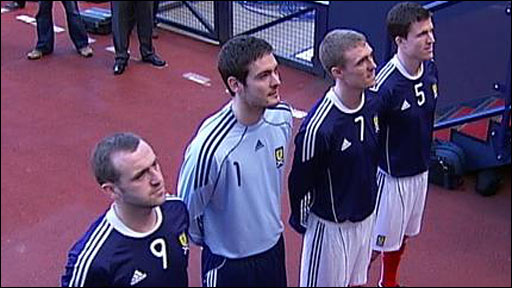 James McFadden, Craig Gordon, Darren Fletcher and Gary Caldwell