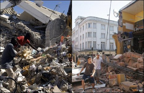 Images from Haiti's earthquake (left) and Chile's earthquake (right)