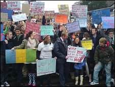 Students protesting in Ambleside