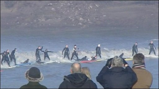 Surfers in the Bristol Channel
