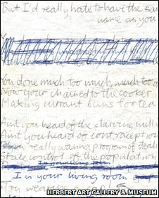Handwritten lyrics to Too Much Too Young