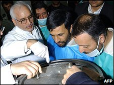 President Ahmadinejad (C) at Natanz uranium enrichment facility, 2006