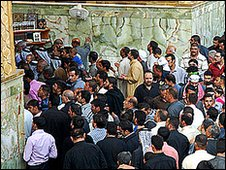 A crowd outside the Imam Ali shrine in Najaf